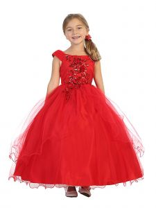 Bijan Kids Little Girls Red Beaded Floral Lace Applique Tulle Pageant Dress 4-6