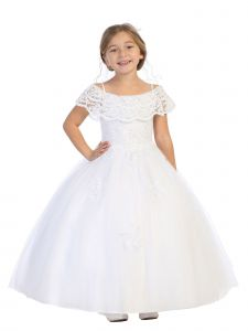 Bijan Kids Girls Multi Color Sequin Lace Off Shoulder Tulle Pageant Dress 2-16