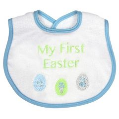 Raindrops Baby Boy Blue My First Easter Embroidered Velour Terry Bib