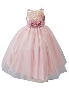 Sinai Kids Big Girls Blush Sequin Tulle Junior Bridesmaid Dress 8-16