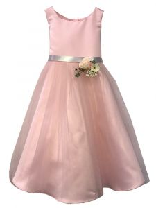 Petite Adele Little Girls Pink Satin Tulle Flowers Flower Girl Dress 2-6
