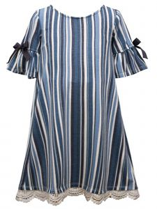 Bonnie Jean Little Girls Blue Striped Knit Bell Sleeve Tank Dress 4-6X