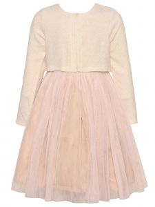 Bonnie Jean Big Girls Ivory Sparkle Blush Tulle Christmas Dress Bolero 7-16
