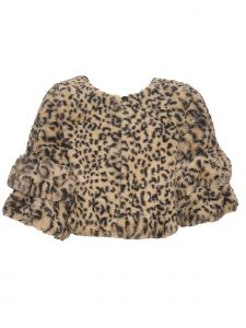 Bonnie Jean Big Girls Tan Black Animal Print Christmas Bolero 7-16
