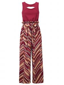 Bonnie Jean Big Girls Burgundy Chevron Print Self Tie Front Jumpsuit 7-16