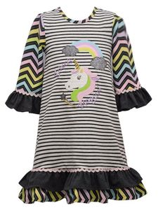 Bonnie Jean Little Girls Gray Mixed Pattern Rainbow Unicorn Dress 2T-6X