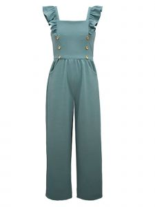 Bonnie Jean Big Girls Jade Flutter Sleeve Gold Buttons Pockets Jumpsuit 7-16