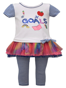 Bonnie Jean Little Girls Multi Color Applique Mesh Skirt Legging Outfit 2T-6X