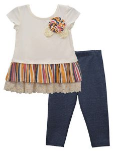 Bonnie Jean Little Girls Multi Color Lace Hem Flower Trim Pant Outfit 4-6X