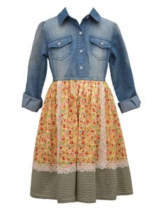 Bonnie Jean Little Girls Mustard Long Sleeve Denim Pebble Crepe Dress 4-6X