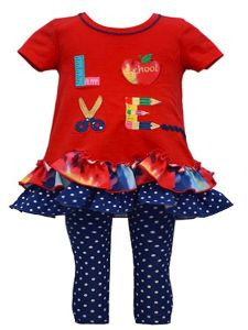Bonnie Jean Little Girls Red Scalloped Hem School Supply Pant Outfit 2T-6X