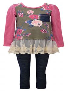 Bonnie Jean Little Girls Rose Long Sleeve Lace Hem Denim Legging Outfit 2-4T