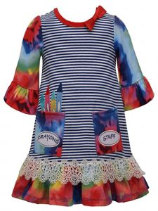 Bonnie Jean Little Girls Royal Blue Appliqued Pockets Tie Die Dress 2T-6X