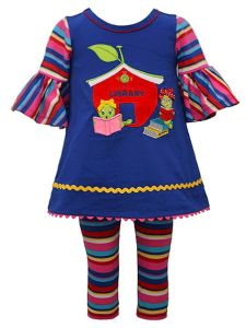 Bonnie Jean Little Girls Royal Blue Bell Sleeve Apple Library Set Outfit 2T-6X