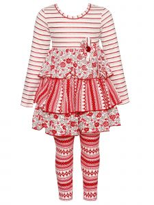 Bonnie Jean Baby Girls Red White Stripe Floral Ruffle Christmas Outfit 12M-24M