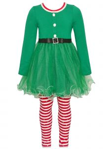 Bonnie Jean Little Girls Green Red Elf Tunic Leggings 2pc Christmas Outfit 2T-6X