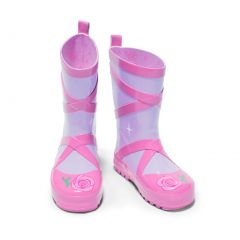 Kidorable Girls Pink Ballerina Slipper Lined Rubber Rain Boots 11-2 Kids