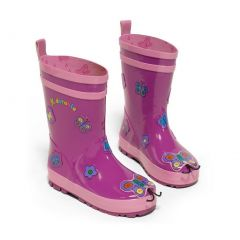 Kidorable Little Girls Purple Butterfly Design Rubber Rain Boots 5-10 Toddler