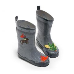 Kidorable Boys Grey Dragon Knight Print Lined Rubber Rain Boots 11-2 Kids