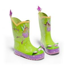 Kidorable Girls Light Green Fairy Print Lined Rubber Rain Boots 11-2 Kids