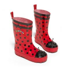 Kidorable Little Girls Black Red Polka Dotted Rubber Rain Boots 5-10 Toddler