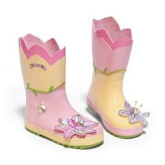 Kidorable Little Girls Pink Lotus Flower Applique Rubber Rain Boots 5-10 Toddler