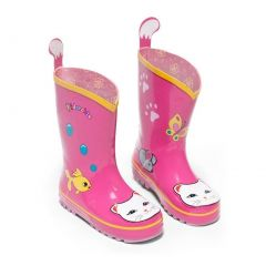 Kidorable Little Girls Pink Lucky Cat Print Rubber Rain Boots 5-10 Toddler