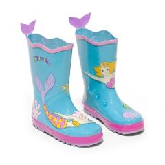 Kidorable Girls Blue Mermaid Print Lined Rubber Rain Boots 11-2 Kids