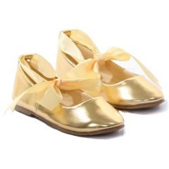 Kids Dream Gold Ballerina Ribbon Tie Rubber Shoe Little Girl 11-4
