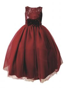 Sinai Kids Little Girls Burgundy Sequin Tulle Flower Girl Dress 2-6