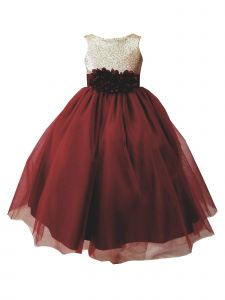 Sinai Kids Big Girls Burgundy Champagne Sequin Tulle Junior Bridesmaid Dress 12