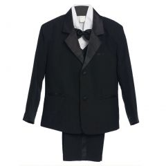 Little Boys Black 5 Piece Vest Jacket Pants Special Occasion Tuxedo Suit 7