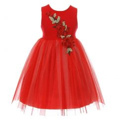 Kids Dream Little Girls Red Rose Accent Sparkle Tulle Flower Girl Dress 2-6