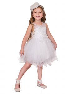 Kids Dream Girls Multi Color Applique Tiered Special Occasion Dress 2-16