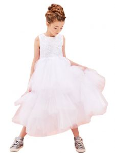 Petite Adele Big Girls White 3D Applique Lavish Junior Bridesmaid Dress 8-16