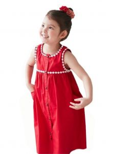 Bunny n Bloom Little Girls Red Lace Trim Button Summer Casual Dress 1-6