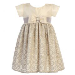 Big Girls Champagne Taffeta Lace Bow Accented Christmas Dress 7-10