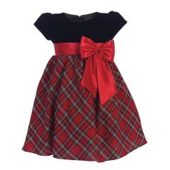 Little Girls Red Black Velvet Plaid Taffeta Bow Christmas Dress 2T-6