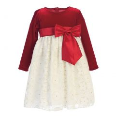 Baby Girls Red Ivory Velvet Glitter Embossed Lace Christmas Dress 3-24M