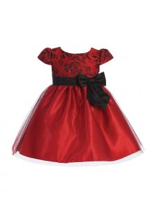 Lito Girls Jacquard Floral Tulle Bow Christmas Dress