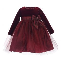 Little Girls Burgundy Stretch Velvet Glitter Tulle Christmas Dress 2T-6