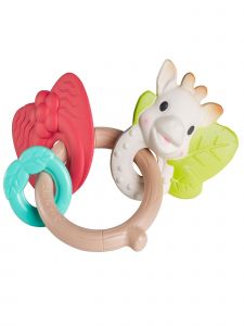 Sophie La Girafe Baby Multi Color So Pure Natural Rings Chew Rattle Toy
