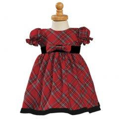 Girls Red Black Plaid Short Sleeve Christmas Dress 12M-4T