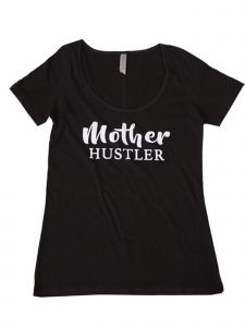 "Women Black White ""Mother Hustler"" Print Short Sleeved Trendy T-Shirt S-XXL"