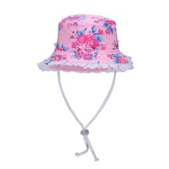 Sun Emporium Girls Pink Vintage Rose Adjustable Strap Wide Brim Sun Hat XS-M