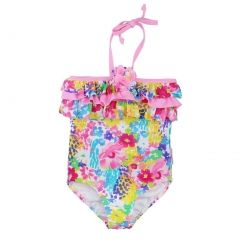 Sun Emporium Baby Girls Pink Monet Floral Halter One Piece Swimsuit 6-18M