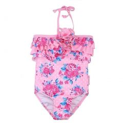 Sun Emporium Baby Girls Pink Rose Vintage Halter One Piece Swimsuit 6-18M
