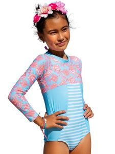 Sun Emporium Big Girls Samsara Print Long Sleeve Swimsuit 8-12