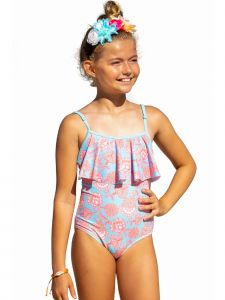 Sun Emporium Big Girls Samsara Print One-Piece Ruffle Swimsuit 8-12