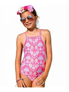Sun Emporium Little Girls Coral Pink Gypsy Halter Keyhole Back One Pc Swimsuit 4-6